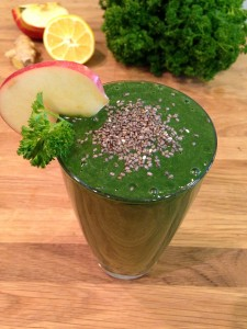 greens smoothie topped with chia seeds