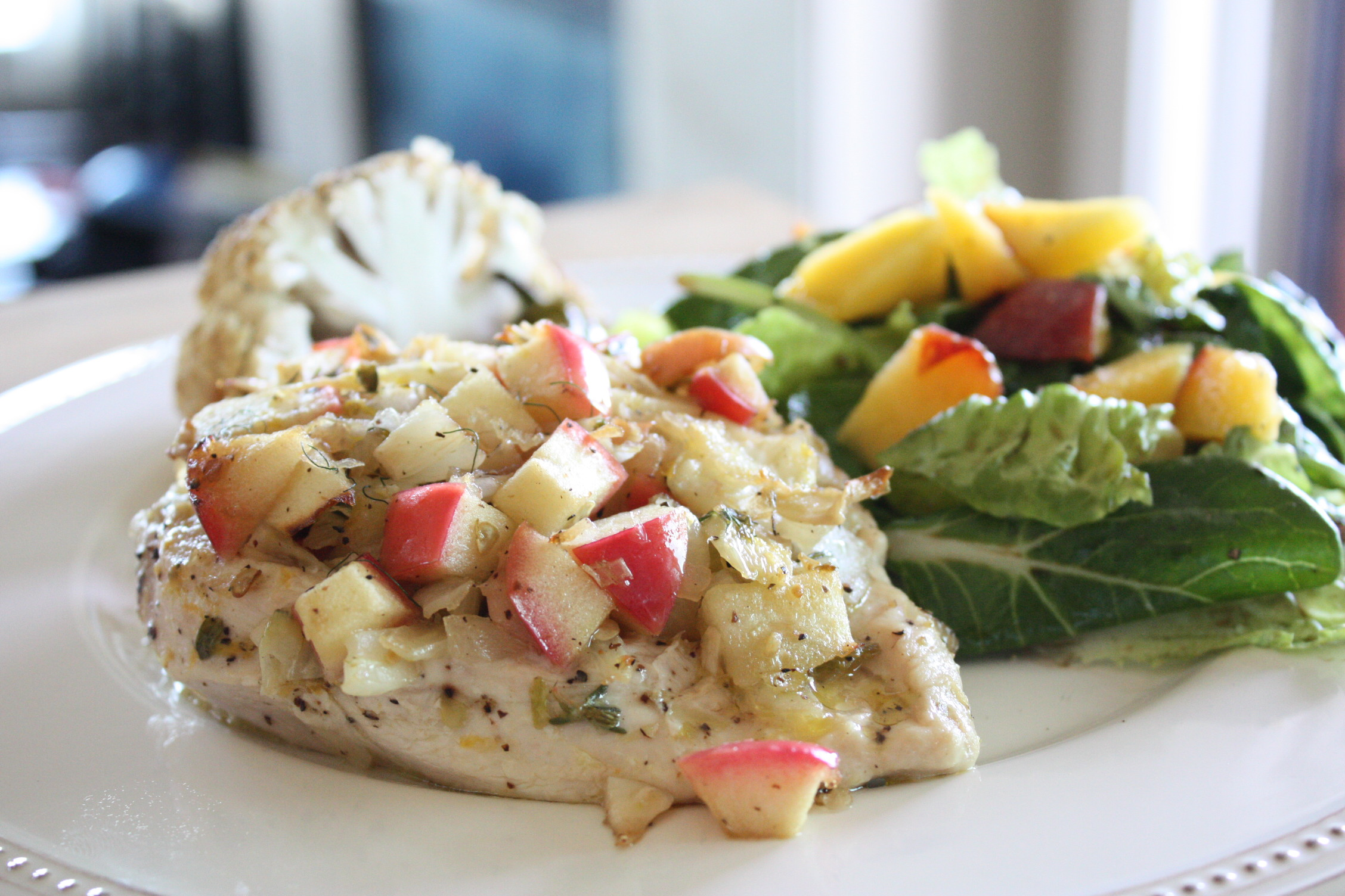 stuffed chicken with side salad