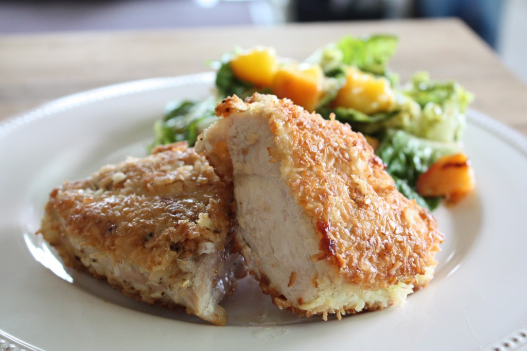 coconut chicken with a grilled peach salad