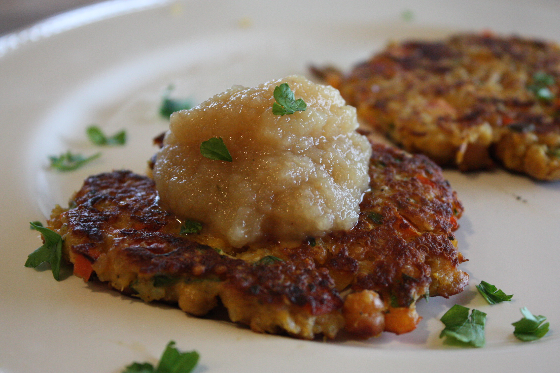 veggie pancakes topped with apple sauce